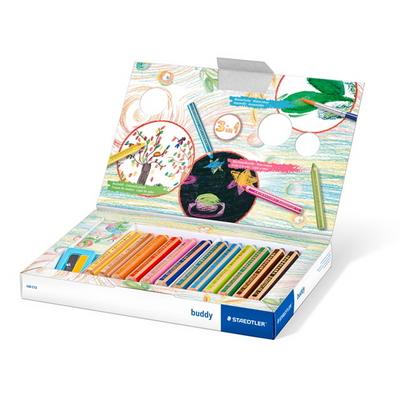 스테들러 어린이 점보 140 버디 색연필 멀티 12색 크레용 세트