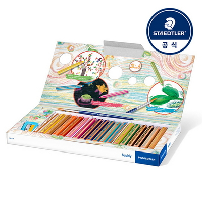 스테들러 어린이 점보 140 버디 색연필 멀티 18색 크레용 세트