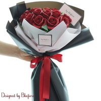 비누장미 꽃다발 와인(20송이) BBF1790