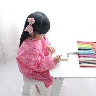 핑크 화이트도트 유아 전신미술가운