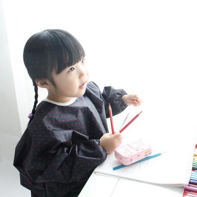 네이비 레드도트 유아 전신미술가운