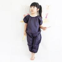 네이비 레드도트 유아 전신미술가운 - 반팔