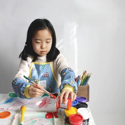 테트리스 유아 방수앞치마 세트-2color