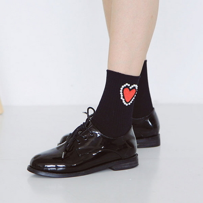 (WOMAN)HEART PEARL-SOCKS(2color)
