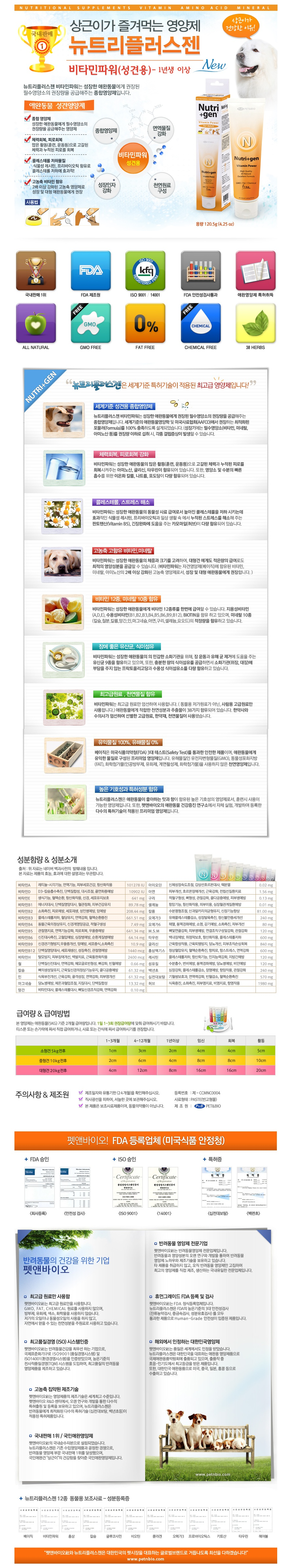 뉴트리플러스젠 종합 강아지영양제 (성장기용) 120.5g - 뉴트리플러스젠, 9,000원, 간식/영양제, 영양보호제