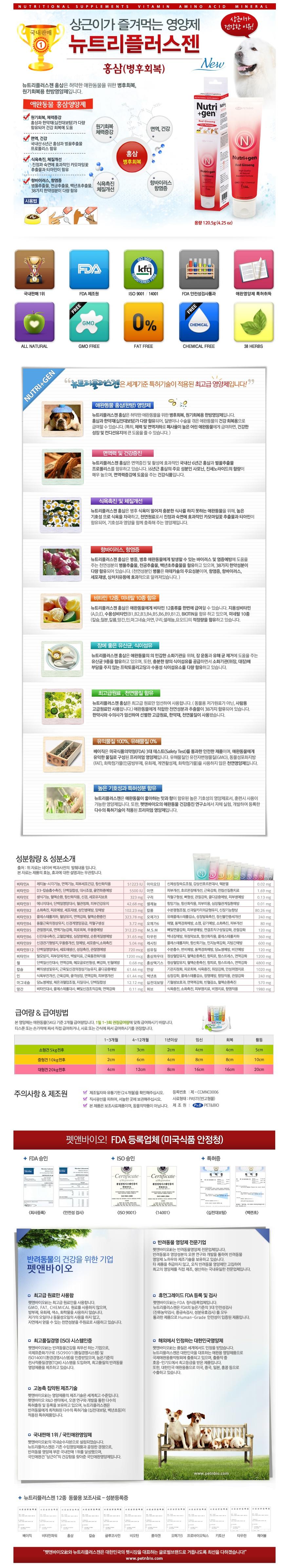 뉴트리플러스젠 홍삼 강아지영양제 120.5g - 뉴트리플러스젠, 9,000원, 간식/영양제, 영양보호제