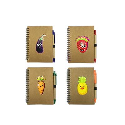 과일채소 유선 스프링수첩 볼펜세트 소형(SNP001) 3개세트)