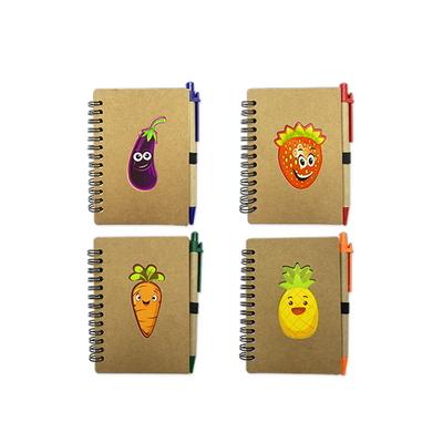 과일채소 유선 스프링수첩 볼펜 세트 중형(SNP002) 2개세트
