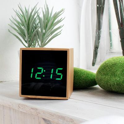 원목 큐브 LED 알람시계