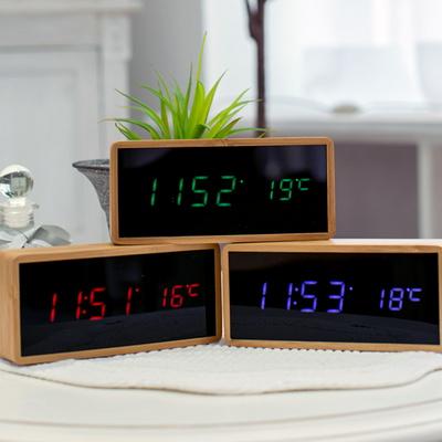 원목 직사각 LED 알람시계