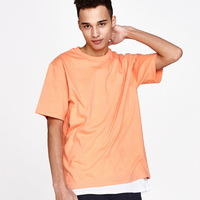 (UNISEX)백사이드 절개자수 포인트 오버핏 스탠다드 티셔츠 (Orange)