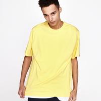 (UNISEX)백사이드 절개자수 포인트 오버핏 스탠다드 티셔츠 (Yellow)
