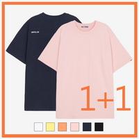 (1+1 UNISEX)백사이드 절개자수 포인트 오버핏 스탠다드 티셔츠 모음 (6color)