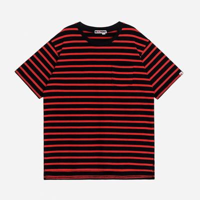 (UNISEX)스트라이프 사이드컷 오버핏 포켓 티셔츠(Orange-Black)