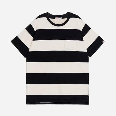 (UNISEX)스트라이프 사이드컷 오버핏 포켓 티셔츠(Black-Ivory)