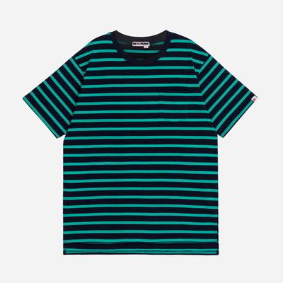(UNISEX)스트라이프 사이드컷 오버핏 포켓 티셔츠(Green-Navy)