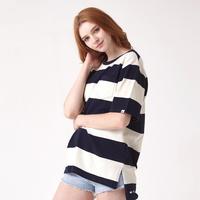 (UNISEX)스트라이프 사이드컷 오버핏 포켓 티셔츠(Navy-Ivory)