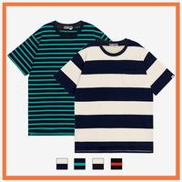 (UNISEX)스트라이프 사이드컷 오버핏 포켓 티셔츠 모음 (4color)
