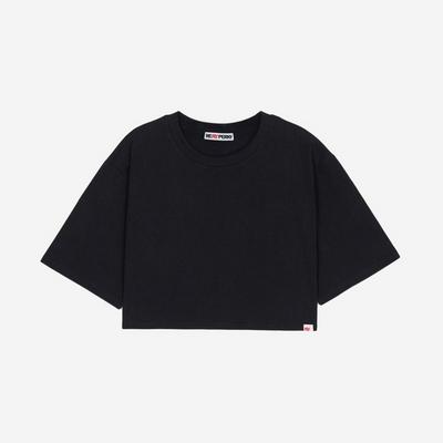 (WOMEN)백사이드 절개자수 포인트 오버핏 크롭 티셔츠(Black)