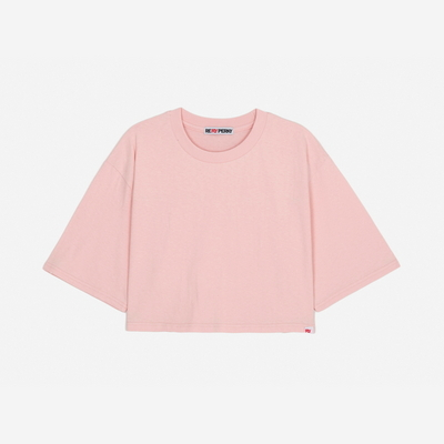 (WOMEN)백사이드 절개자수 포인트 오버핏 크롭 티셔츠(Pink)