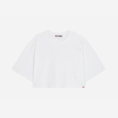 (WOMEN)백사이드 절개자수 포인트 오버핏 크롭 티셔츠(White)
