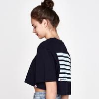 (WOMEN)백사이드 스트라이프 프린팅 오버핏 크롭 티셔츠 (Navy-Sky blue)