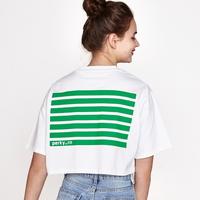(WOMEN)백사이드 스트라이프 프린팅 오버핏 크롭 티셔츠 (White-green)