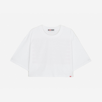 (WOMEN)백사이드 스트라이프 프린팅 오버핏 크롭 티셔츠 (White-Orange)