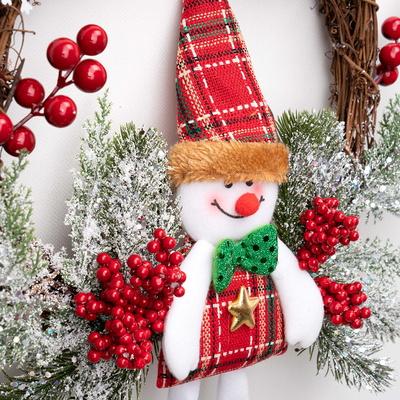 크리스마스 원형 리스 가랜드 트리 벽 장식