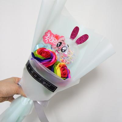 미니 무지개 비누장미 led인형꽃다발