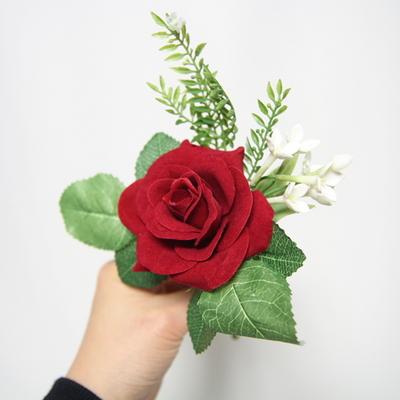 레드 장미 조화 코사지
