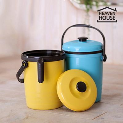음식물 쓰레기통 2L 블루(비닐끼움형) 뚜껑있음 국산