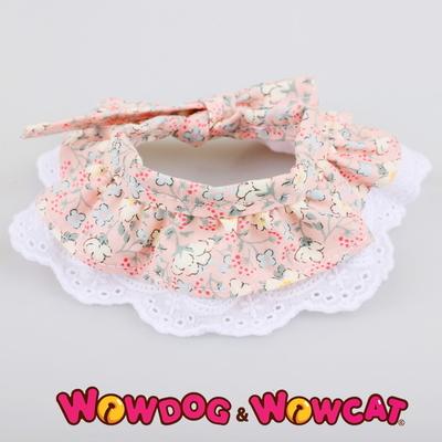 애견 레이스 스카프 벚꽃 핑크