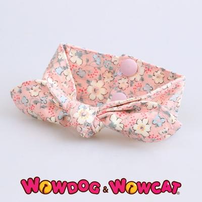 애견 똑딱이 리본 스카프 - 벚꽃 핑크