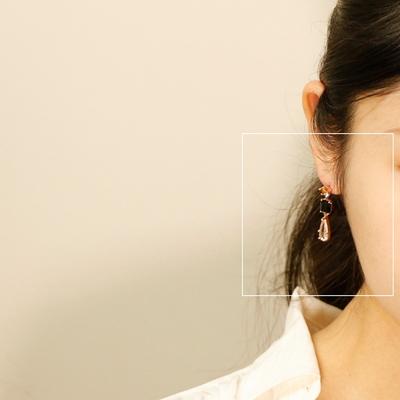 오닉스 은침 드롭 귀걸이