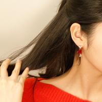 큐빅하트 드롭귀걸이 은침 귀걸이