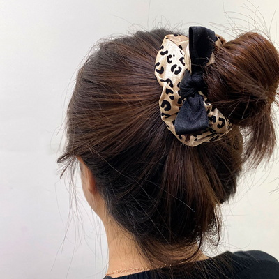 리본 포인트 레오파드 헤어 슈슈 곱창 머리끈 2color