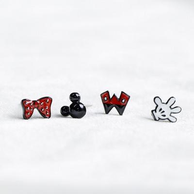 디즈니캐릭터 미키마우스 미니마우스 은침귀걸이 소품4pcs