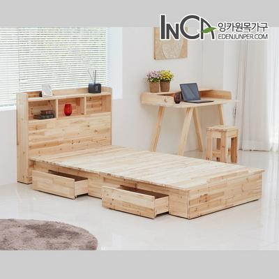 삼나무 원목 평상형 수납 침대 SS+헤드