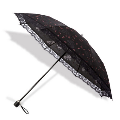 여름 햇빛차단 여성 3단 플라워 프릴 레이스 양산