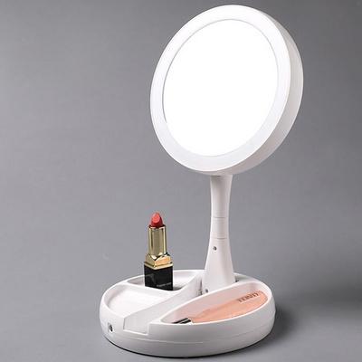 원형 접이식 메이크업 화장 LED 탁상거울