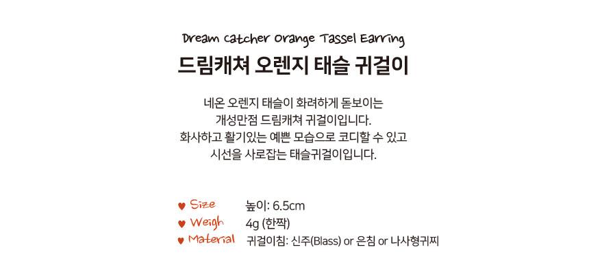 드림캐쳐 오렌지 태슬 귀걸이 - 펄린, 14,900원, 진주/원석, 드롭귀걸이