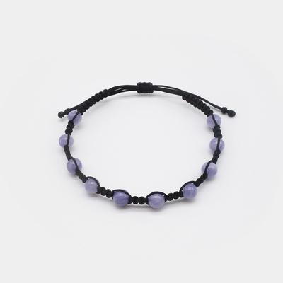 3월 탄생석 버블 아쿠아마린 원석 매듭팔찌 - 남성용 여성용