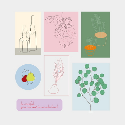 sticker pack. (flower+object)