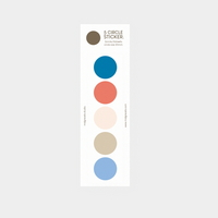 5 circle sticker (blue-beige)