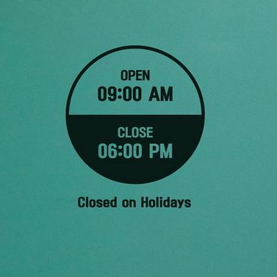 오픈클로즈 영업시간 스티커 LMST-007 심플 동그라미