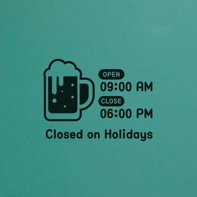 오픈클로즈 영업시간 스티커 LMST-043 맥주