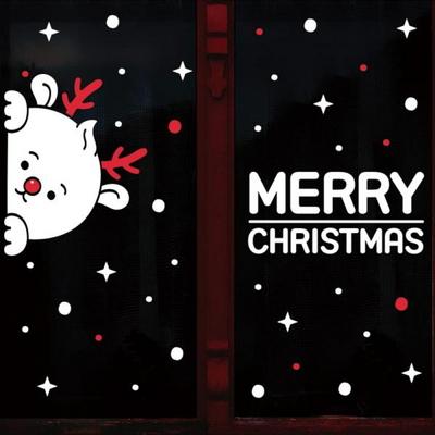 눈꽃 스티커 크리스마스 장식 시트지 LMXM-023 까꿍 루돌프