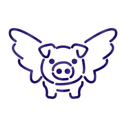 스텐실 도안(ST-3094)날아라 돼지