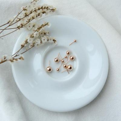 14k 금 볼 귀걸이 핑크골드 옐로골드 3mm, 4mm, 5mm